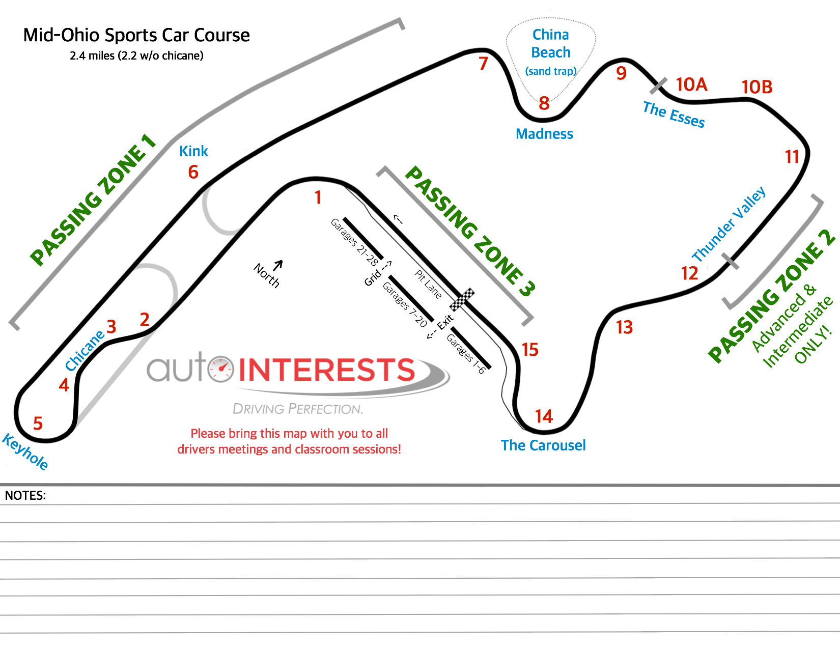 Mid-Ohio Track Map