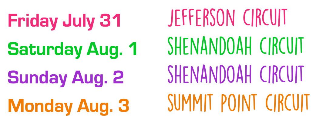 Summer Camp at Summit Point Dates
